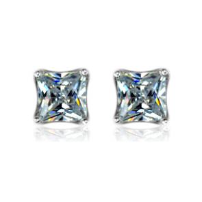 Дамски квадратни обеци с кристали цирконий и бяло златно покритие