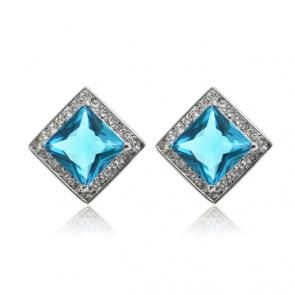 Класически дамски квадратни обеци със сини кристали циркон и бяло златно покритие