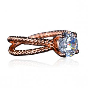"""Дамски пръстен """"Фрида"""" с бял циркон и розово златно покритие"""
