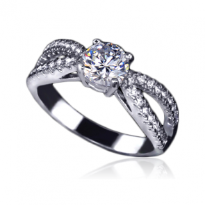 """Дамски пръстен """"Фрида Лайт"""" с бял CZ Циркон и златно покритие"""