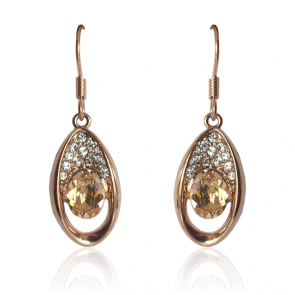 """Дамски обеци """"Съни"""" с кристали циркон и розово златно покритие"""