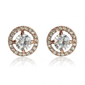 Дамски обеци с бял CZ циркон, австрийски кристали и златно покритие