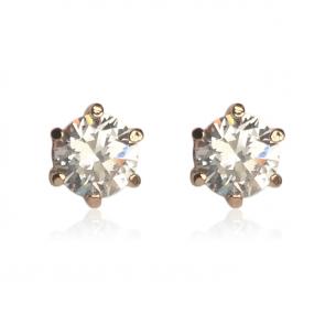 Нежни дамски обеци с бели циркониеви кристали и розово златно покритие