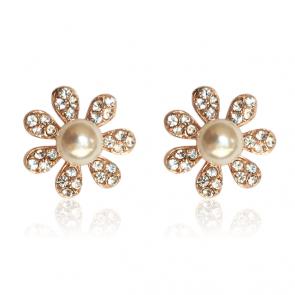 Перлени обеци с бели австрийски кристали и розово златно покритие