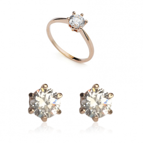 Пленителен комплект дамски бижута, обеци и пръстен с бял CZ циркон и 18 карата розово златно покритие