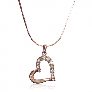 """Дамско колие  """"Златно Сърце"""" с бели австрийски кристали и златно покритие"""