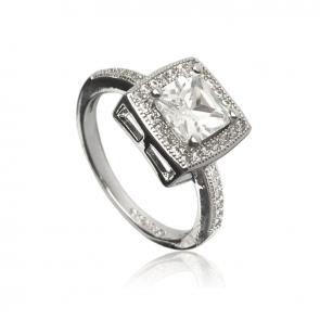 Дамски пръстен с бял кристал циркон и австрийски кристали