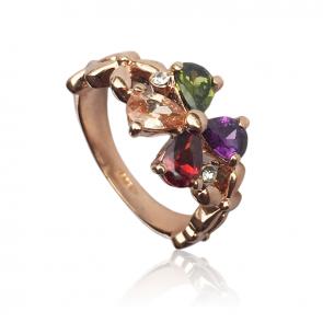 Дамски пръстен с многоцветни циркониеви кристали и розово златно покритие