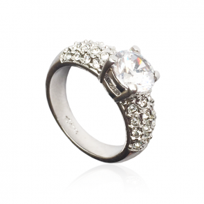 Дамски пръстен с австрийски кристали, CZ Циркон и бяло златно покритие