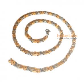 Мъжки ланец с цвят сребро и жълто злато от медицинска стомана