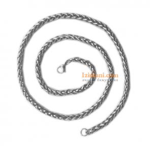 Стилен стоманен мъжки ланец със сребрист цвят
