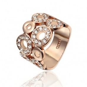 Дамски пръстен с австрийски кристали и 18К жълто златно покритие
