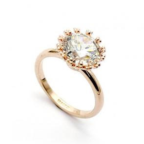 Пленителен дамски пръстен с австрийски кристали циркон и жълто златно покритие