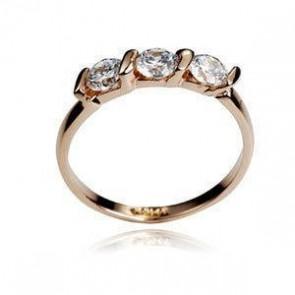"""Стилен дамски пръстен """"Звездна нощ"""" с камъни Цирконий и златно локритие"""