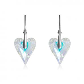 Висящи дамски обеци сърца от многоцветни кристали Сваровски