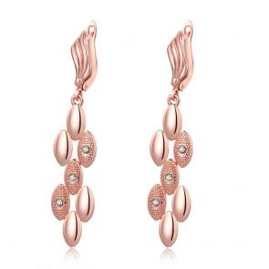 Висящи дамски обеци с бели кристали циркон и розово златно покритие