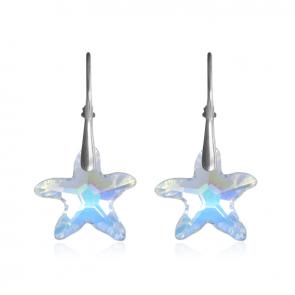 Висящи дамски обеци морски звезди с многоцветни кристали Сваровски
