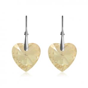 Висящи дамски обеци сърца с жълти кристали Сваровски