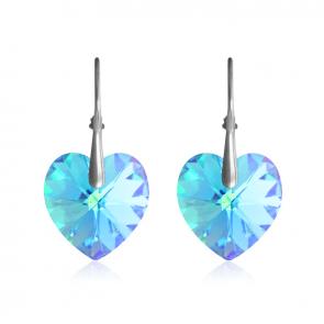 """Висящи дамски обеци """"Heart"""" Aqua Blue със сини кристали Сваровски"""