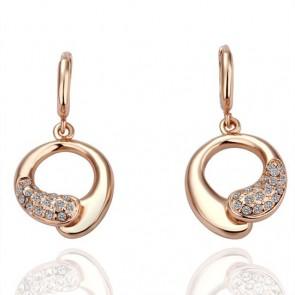 Висящи дамски обеци с австрийски кристали и розово златно покритие
