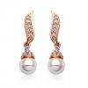 """Дамски обеци """"Перлена Наслада Голд"""" с австрийски кристали. Код: BV123."""