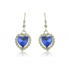 Дамски обеци сърца със сини циркониеви кристали и  златно покритие. Код: BV130.
