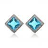 Дамски квадратни обеци със сини кристали циркон и златно покритие. Код: BV199.
