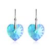 """Дамски обеци """"Heart"""" Aqua Blue със сини кристали Сваровски. Код: SV5."""